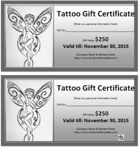6 Tattoo Gift Certificate Templates | Free Sample Templates With Fresh Tattoo Gift Certificate Template