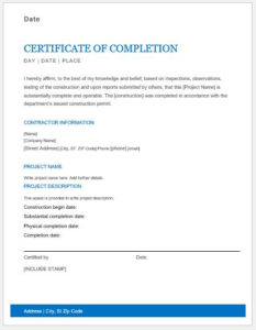 6+ Work Completion Certificate Formats In Word – with regard to New Certificate Of Construction Completion
