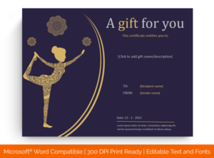 6+ Yoga Gift Certificate Templates (In Word, Pdf Format) intended for Yoga Gift Certificate Template Free