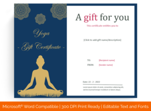 6+ Yoga Gift Certificate Templates (In Word, Pdf Format) with Yoga Gift Certificate Template Free