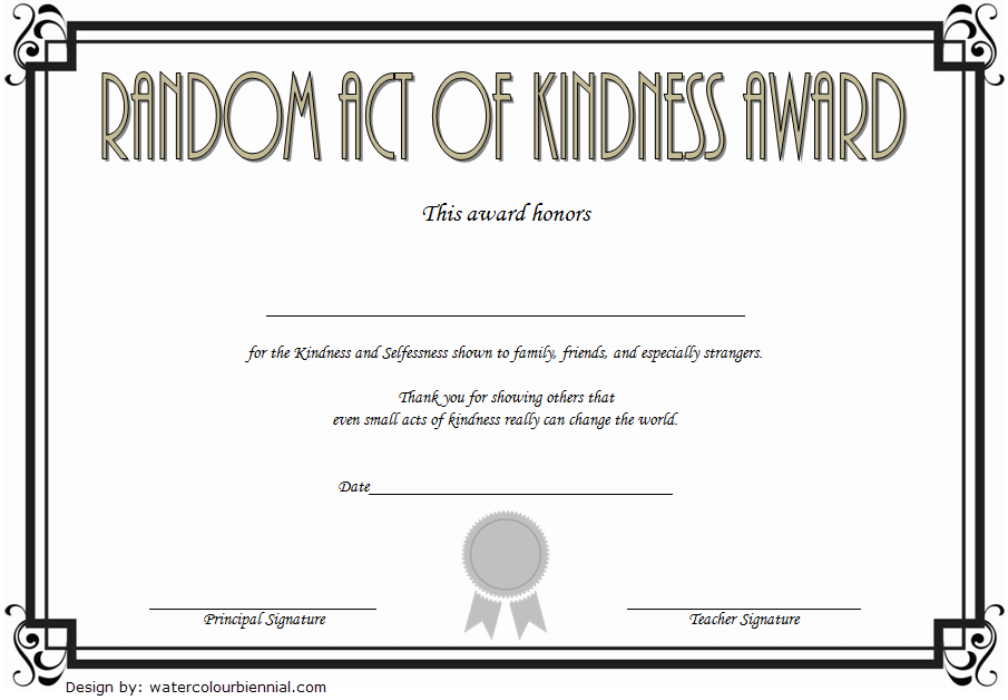 7+ Certificate Of Kindness Free Printable [2020 Ideas] Throughout Quality Kindness Certificate Template 7 New Ideas Free