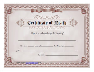 7 Free Death Certificate Templates – Formats & Designs in Fake Death Certificate Template