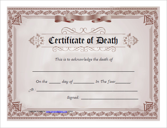 7 Free Death Certificate Templates - Formats & Designs in Fake Death Certificate Template