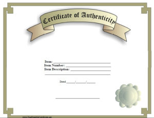 7 Free Sample Authenticity Certificate Templates – Printable Inside Unique Authenticity Certificate Templates Free