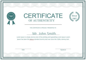 7 Free Sample Authenticity Certificate Templates – Printable pertaining to Certificate Of Authenticity Templates