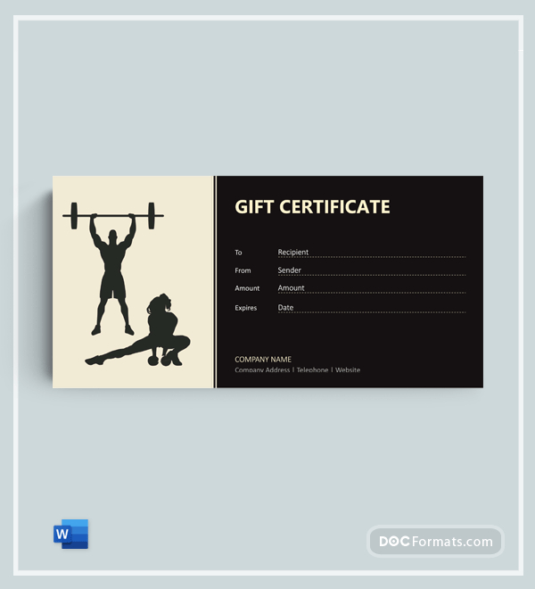 72+ Free Gift Certificate Templates - Word (Doc) | Pdf within Fitness Gift Certificate Template