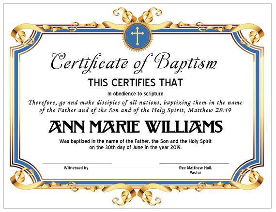 8.5X11 Baptism Certificate Template, Edit In Microsoft Word, Instant  Download, Certificate Download in Fresh Baptism Certificate Template Word