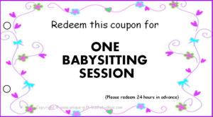 8 Best Printable Babysitting Voucher Template – Printablee regarding Free Printable Babysitting Gift Certificate