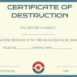 8 Free Customizable Certificate Of Destruction Templates For New Free Certificate Of Destruction Template
