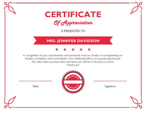 8 Free Printable Certificates Of Appreciation Templates | Hloom with regard to New Certificates Of Appreciation Template