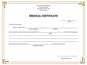 8 Free Sample Medical Certificate Templates – Printable Samples pertaining to Fake Medical Certificate Template Download