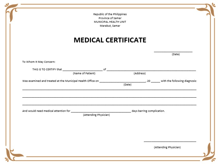 8 Free Sample Medical Certificate Templates - Printable Samples pertaining to Fake Medical Certificate Template Download