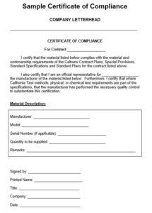 8 Free Sample Professional Compliance Certificate Templates inside Certificate Of Compliance Template 10 Docs Free
