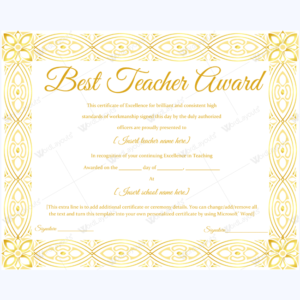 89+ Elegant Award Certificates For Business And School Events inside New Best Teacher Certificate Templates Free