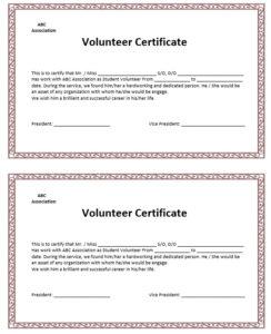 9 Free Sample Volunteer Certificate Templates – Printable pertaining to Unique Volunteer Certificate Template