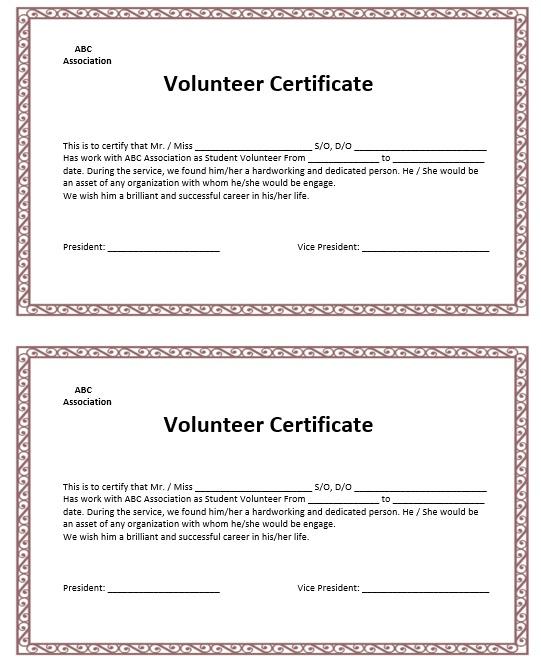 9 Free Sample Volunteer Certificate Templates - Printable pertaining to Volunteer Certificate Templates
