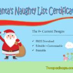 9+ Santa Naughty List Certificate Templates Free Download with New Free 9 Naughty List Certificate Templates