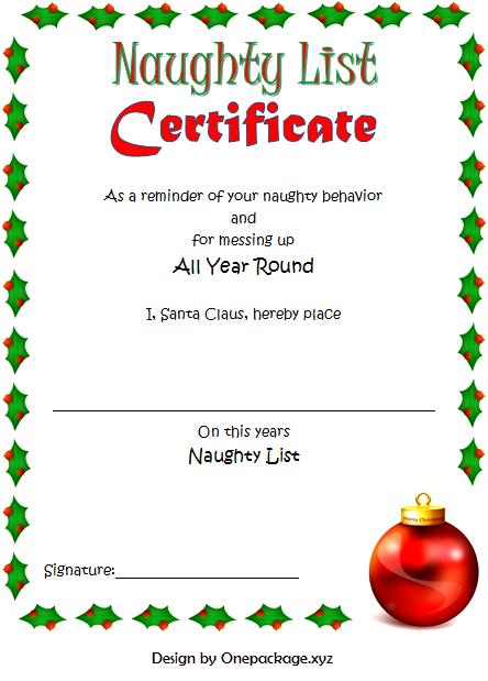 9+ Santa Naughty List Certificate Templates Free Download within Free 9 Naughty List Certificate Templates