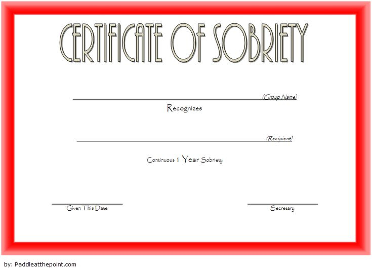 9 Sobriety Certificate Template Ideas | Certificate with Sobriety Certificate Template 10 Fresh Ideas Free