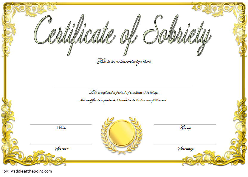 9 Sobriety Certificate Template Ideas   Certificate within Best Sobriety Certificate Template 10 Fresh Ideas Free