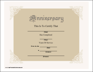 A Beautiful Anniversary Certificate Honoring Years Of for New Anniversary Certificate Template Free