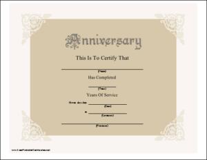 A Beautiful Anniversary Certificate Honoring Years Of regarding Best Employee Anniversary Certificate Template