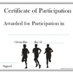 A Certificate Of Participation For Participating In A Race With Marathon Certificate Template 7 Fun Run Designs