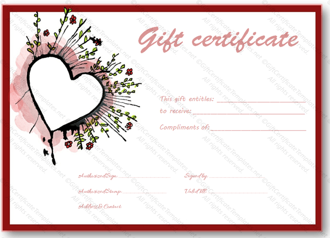 Abstract Heart Gift Certificate Template - Certificate Templates intended for Valentine Gift Certificate Template