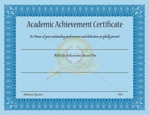 Academic Achievement Certificate Template - Certificate for Academic Achievement Certificate Template