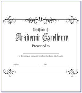Academic Award Certificate Template Free   Vincegray2014 inside Academic Achievement Certificate Templates