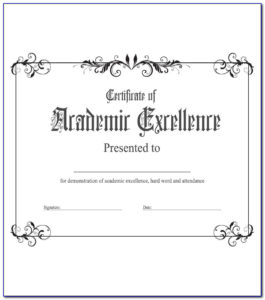 Academic Award Certificate Template Free   Vincegray2014 pertaining to Academic Achievement Certificate Template