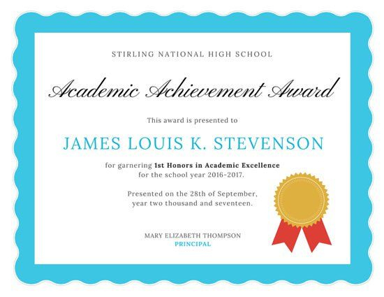 Academic Excellence Certificate   Awards Certificates Within Certificate Of Academic Excellence Award