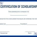 Academic Scholarship Certificate Template | Certificate In Certificate Of Job Promotion Template 7 Ideas