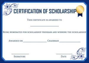 Academic Scholarship Certificate Template | Certificate in Certificate Of Job Promotion Template 7 Ideas