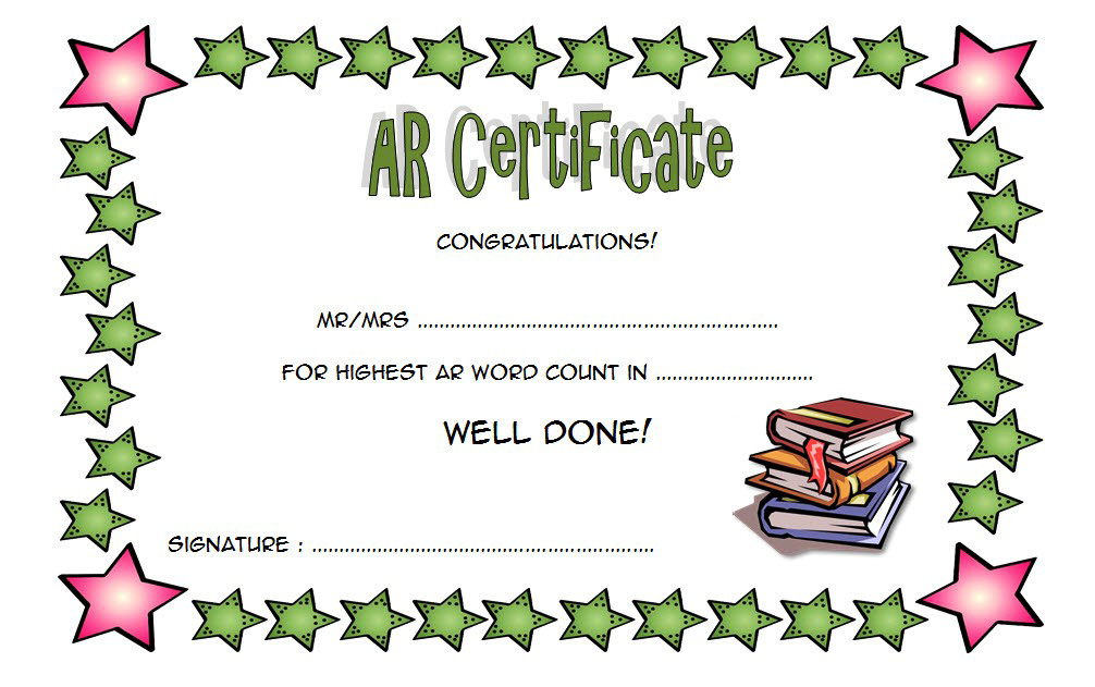 Accelerated Reader Award Certificate Template Free For Best Accelerated Reader Certificate Templates
