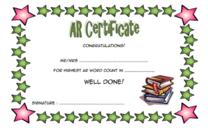 Accelerated Reader Award Certificate Template Free for Best Star Reader Certificate Template
