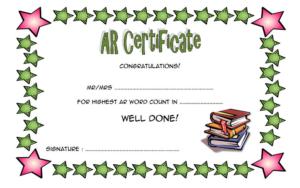 Accelerated Reader Award Certificate Template Free For Best Star Reader Certificate Template