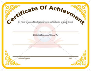 Achievement Certificate Template Recognize The Achievement regarding Outstanding Performance Certificate Template