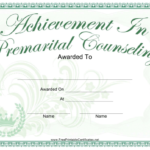 Achievement Of Premarital Counseling Certificate Template Inside Marriage Counseling Certificate Template