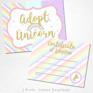 Adopt A Unicorn Certificate Unicorn Rainbow Birthday Party with regard to Unicorn Adoption Certificate Templates