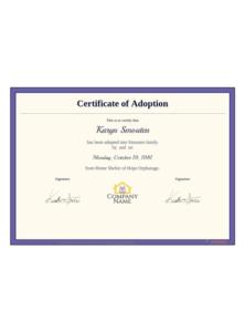 Adoption Certificate Template – Pdf Templates | Jotform for Blank Adoption Certificate Template
