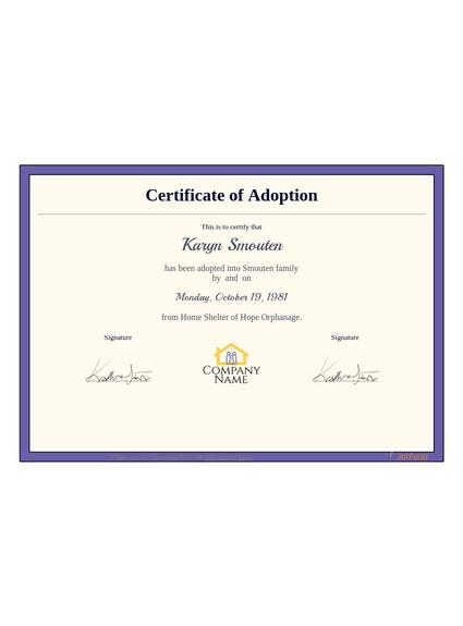 Adoption Certificate Template - Pdf Templates | Jotform inside Fresh Child Adoption Certificate Template