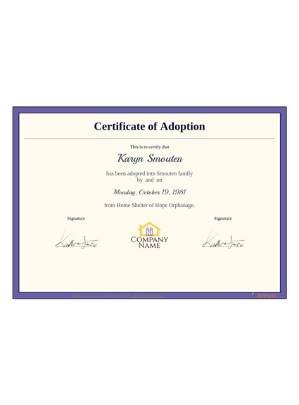 Adoption Certificate Template - Pdf Templates | Jotform within Child Adoption Certificate Template Editable