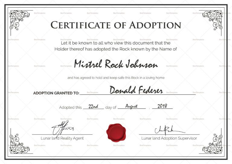 Adoption Certificates - Magdalene Project In Pet Adoption throughout Unique Adoption Certificate Template