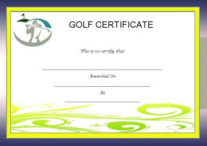 Adorable Golf Certificates For Professional Players : Free in Quality Golf Certificate Template Free