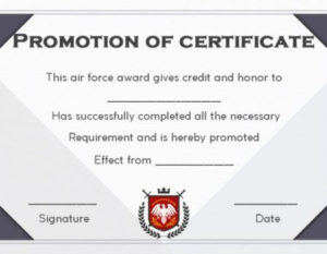 Airforce Officer Promotion Certificate Template In 2020 with regard to Unique Job Promotion Certificate Template Free