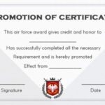 Airforce Officer Promotion Certificate Template In Certificate Of School Promotion 10 Template Ideas