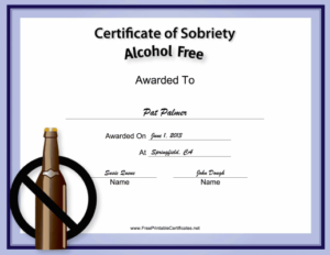 Alcohol-Free Certificate Printable Certificate | Drug Free pertaining to Best Certificate Of Sobriety Template Free