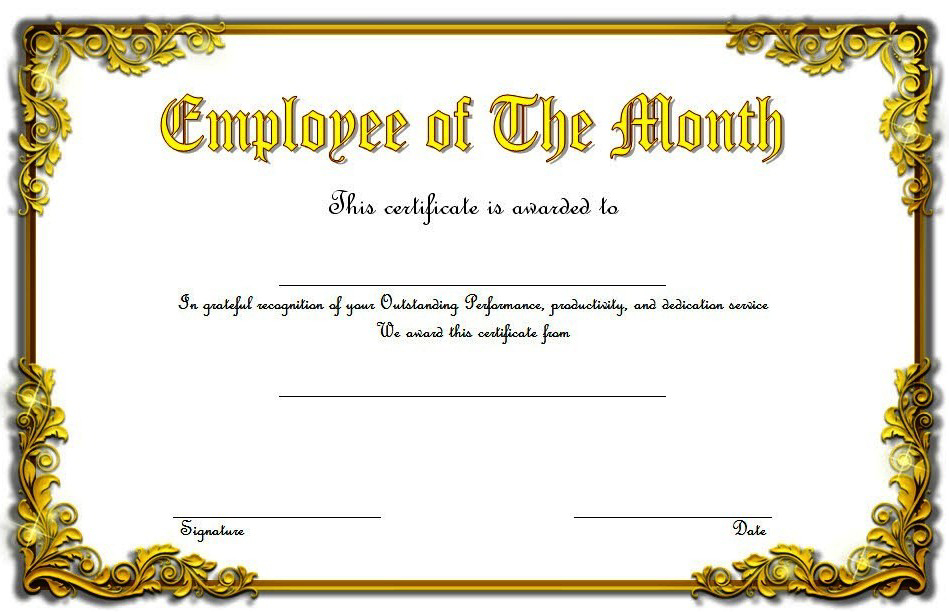 An Employee Of The Month Certificate Template Word Free 6 throughout Employee Of The Month Certificate Template Word
