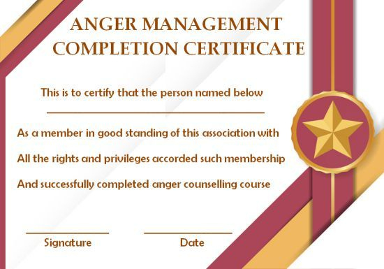 Anger Management Certificate: 15 Templates With Editable for Anger Management Certificate Template